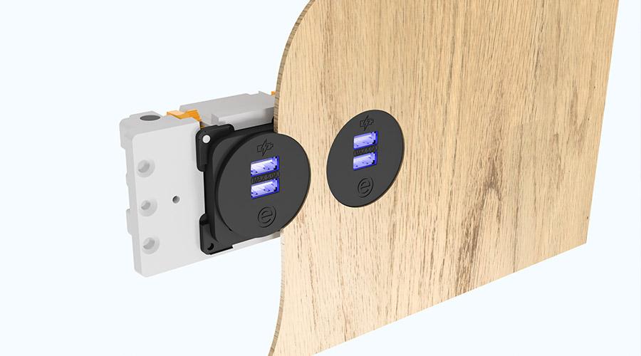 Puma, Panel mounted power, data, AV, USB charger sockets   OE Elsafe