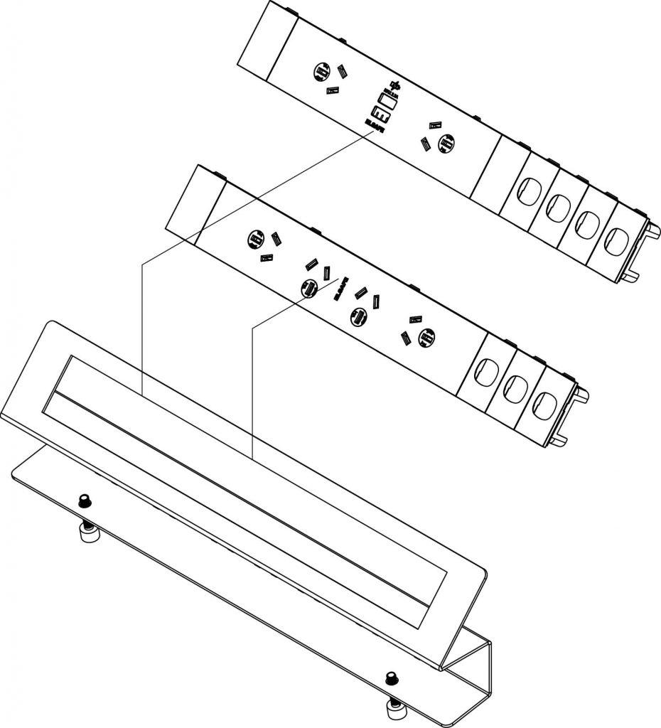Pegasus 65 power desk rail, data, USB charging OE Elsafe
