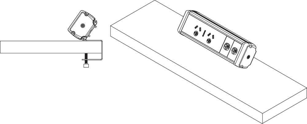 Phoenix power, data, USB charging desk rail OE Elsafe