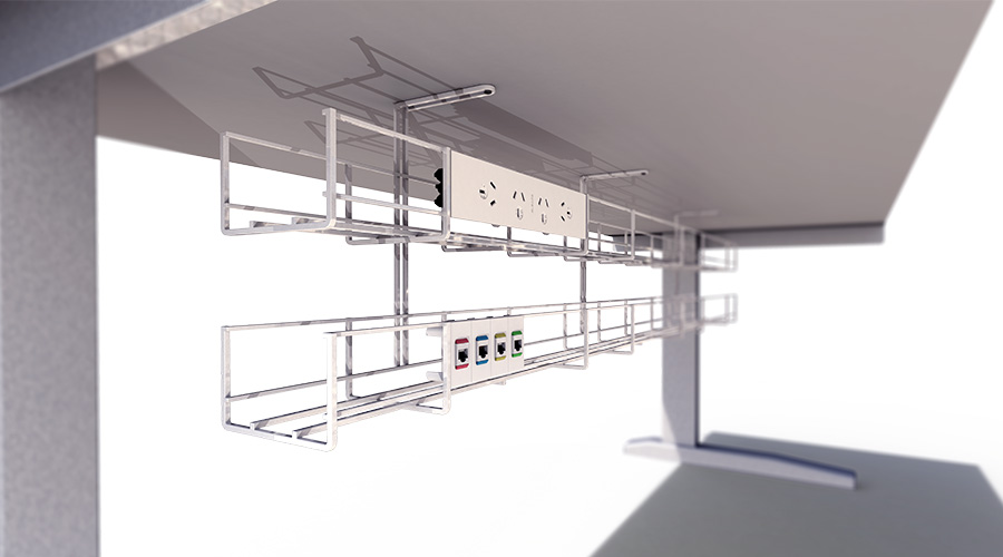 Under desk cable management wire basket power data Prodigy OE Elsafe