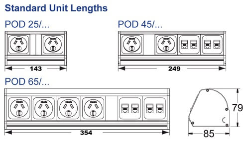 Pod Desk power rail, data nad USB charging OE Elsafe