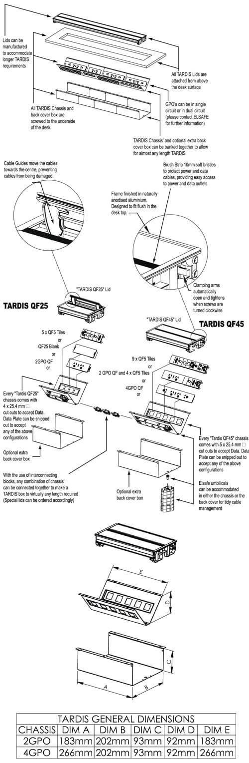 Tardis in desk box power, USB charging data OE Elsafe