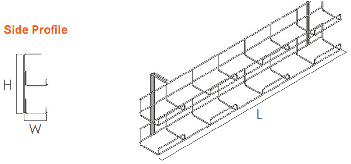 Runner wire basket cable tray double OE Elsafe